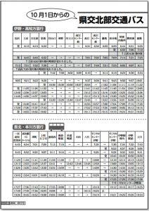 北部交通バス時刻表1